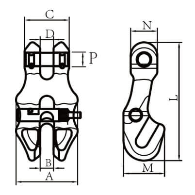 Clevis Shortening Clutch with Safety Pin - Grade 80 - Dimensions