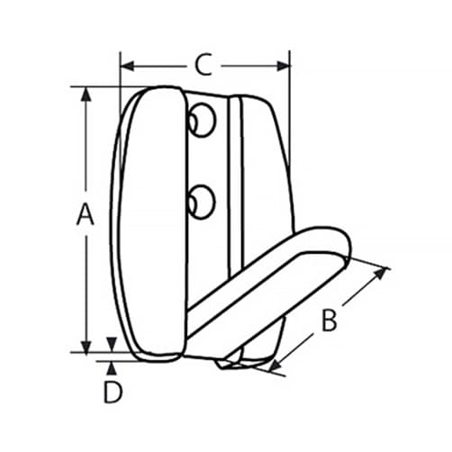 Folding Coat Hook - Dimensions