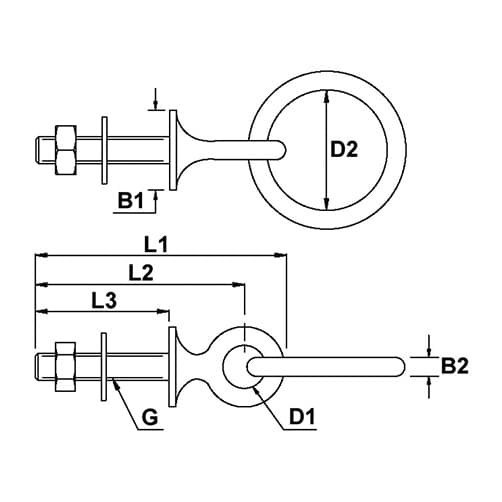 Collared Ring Bolt Diagram