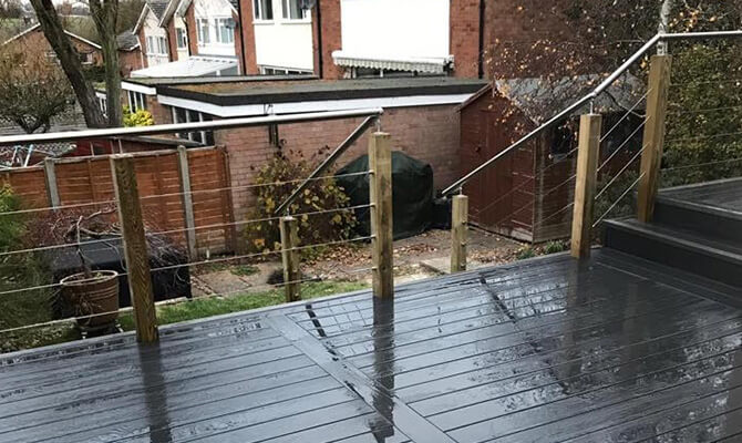 Raised Decking Balcony - Stainless Steel Wire Balustrade and Handrail