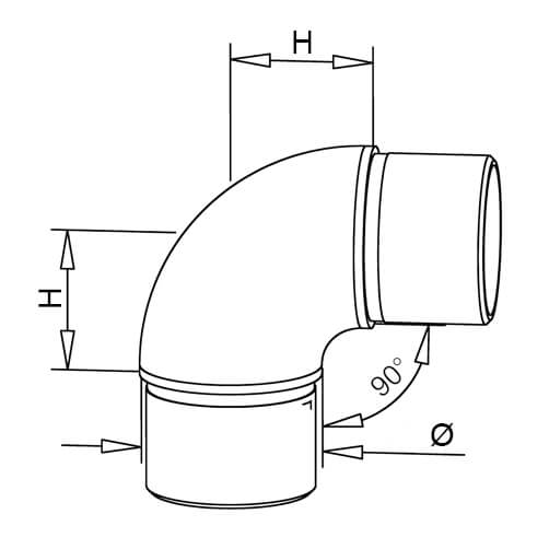Tube Connector - Curved 90 Degree Elbow - Dimensions