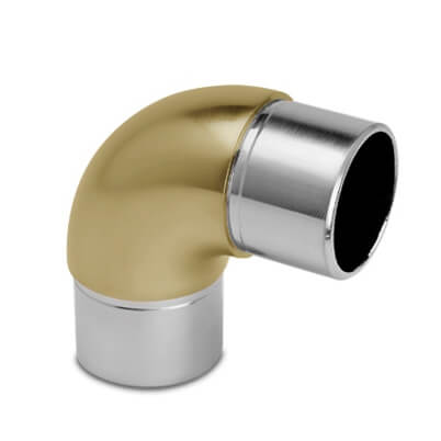 Tube Connector - Curved 90 Degree Elbow - Matt Brass Finish