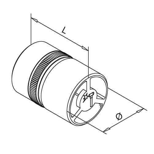 In-Line Tube Connector - Bar Railing - Dimensions