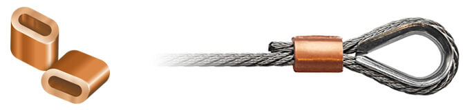 Wire rope ferrules crimps in aluminium copper