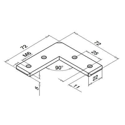 Corner Connector for 33x39mm Profile Channel - Dimensions