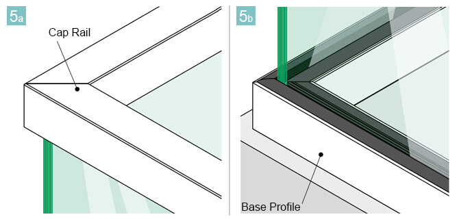 Glass Channel Base Profiles and 33mm x 39mm Cap Rail