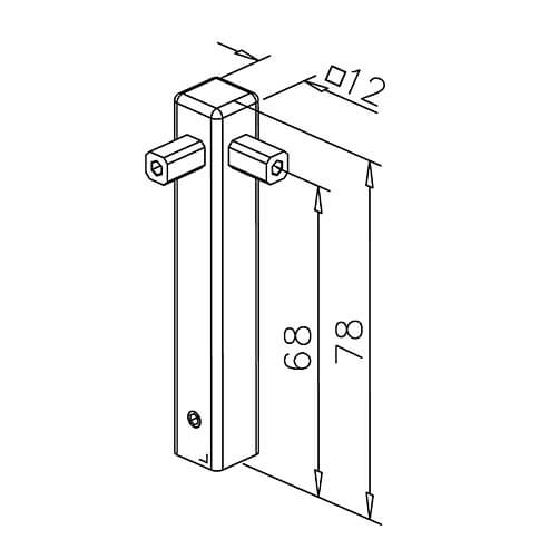 Corner Post - 8mm Mini Rail - Dimensions