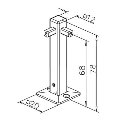 Corner Post with Base Plate - 8mm Mini Rail - Dimensions