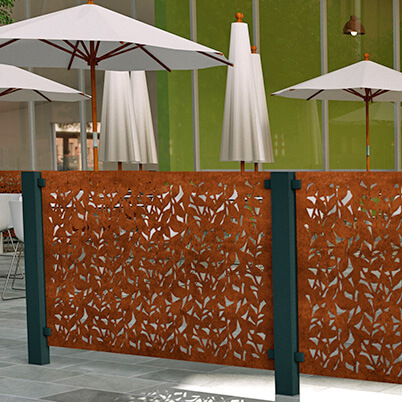 Branches Balustrade Screen - Corten Steel - Insitu