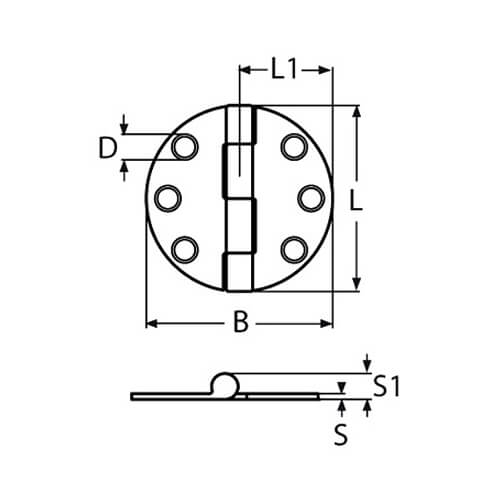Round Hinge with Cover Cap - Dimensions