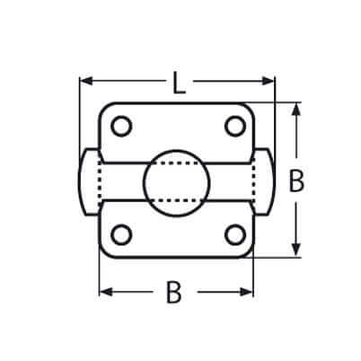 Cross Bollard Boat Mooring Cleat - Base Dimensions