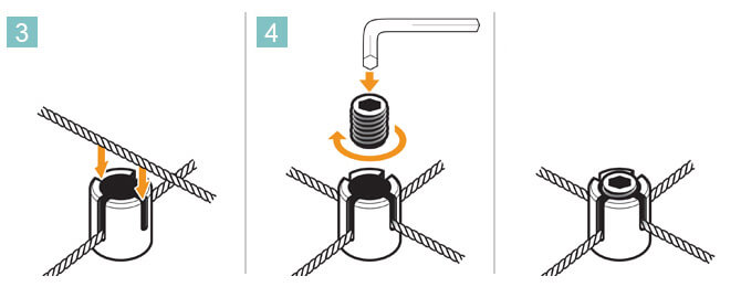 Secure wire rope into cross clamp