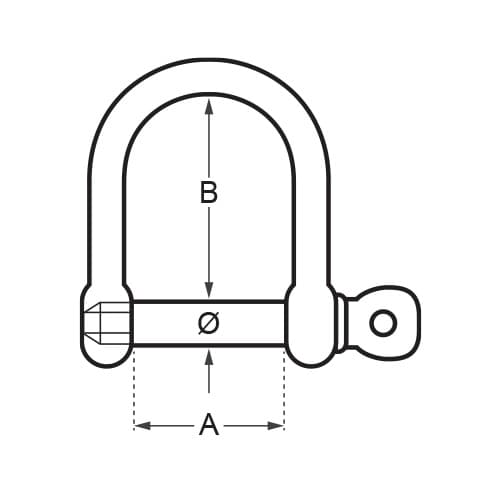 Wide D Shackle with Screw Pin - Diagram