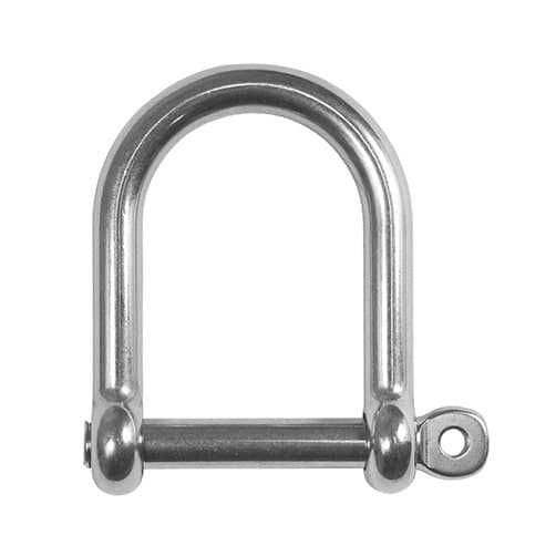 Wide D Shackle with Screw Pin - Stainless Steel