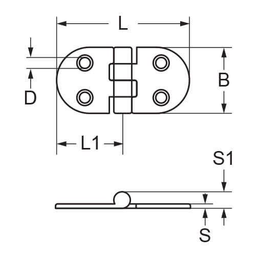 D Shaped Hinge Stainless Steel - 4 Hole - Detail
