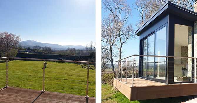 Stainless steel wire balustrade preserving the view
