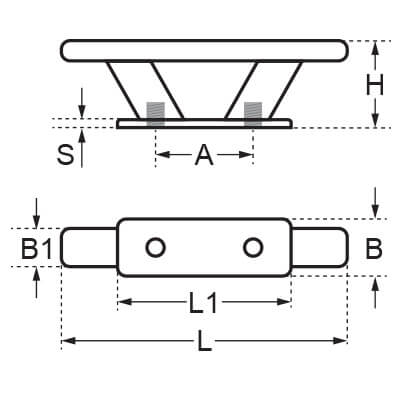 Deck Cleat - Angle Stem - Dimensions