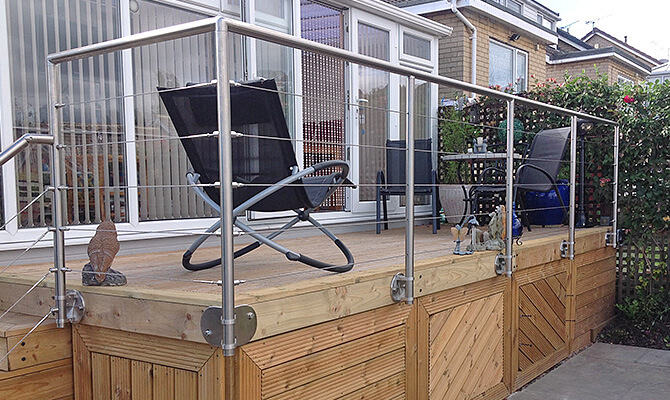Decking Project with Fascia Mounted Stainless Steel Balustrade