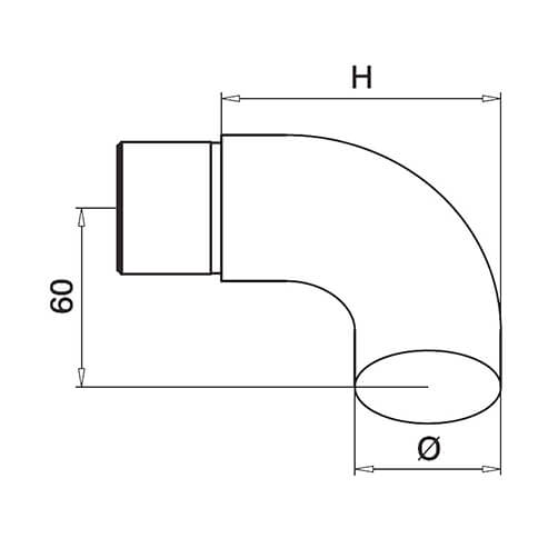 Decorative End Scroll For Modular Stainless Steel Balustrade - Diagram