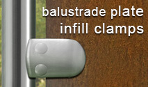 Plate and Sheet Infill Clamps for Balustrade