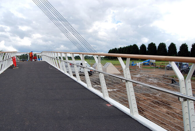 Balustrade Wire Installed On The Diglis Footbridge