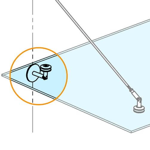 Glass-Wall Bracket For Door Canopy - Position
