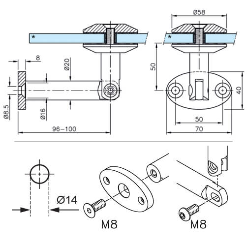 Glass-Wall Bracket For Door Canopy - Technical
