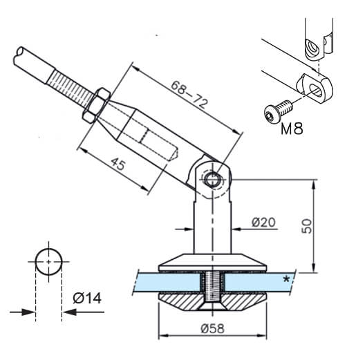 Glass Connector For Door Canopy - Technical