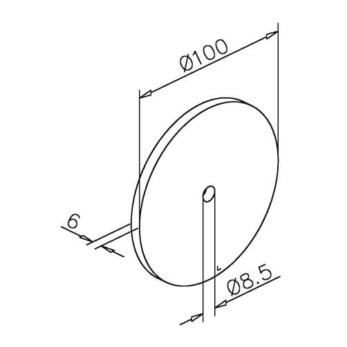 Wall Mounting Plate For Glass Door Canopy - Dimensions