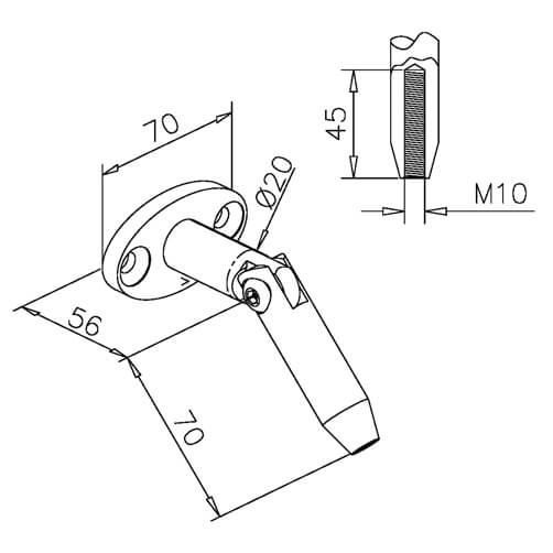 Wall Connector For Glass Door Canopy - Dimensions