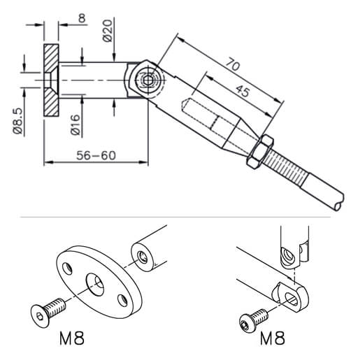 Wall Connector For Glass Door Canopy - Technical