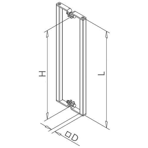 Square Profile Door Handle - Dimensions