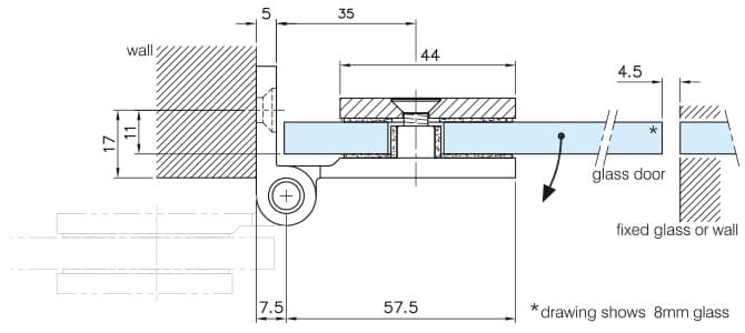 Glass to Wall Fixing D Shaped Hinge - Dimensions
