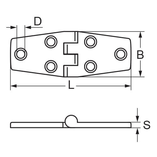 Door Hinge - Stainless Steel - Dimensions
