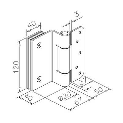 Stainless Steel Door Hinge - Glass to Wood Mounting - Dimensions