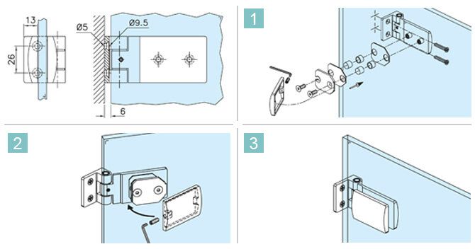 Glass to Wall Fixing Long Hinge - Directions
