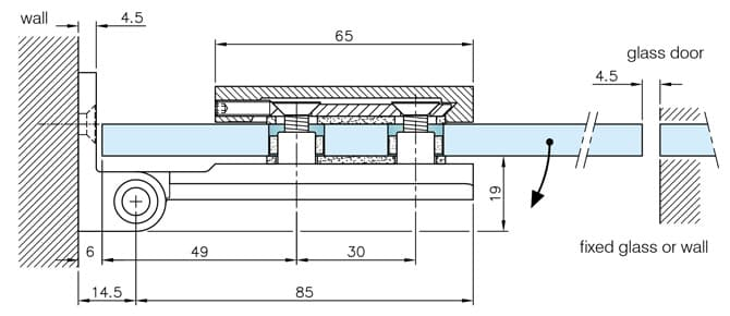 Glass to Wall Fixing Long Hinge - Dimensions