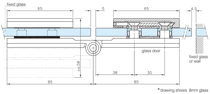 Glass to Glass Fixing Long Hinge - Dimensions and Position