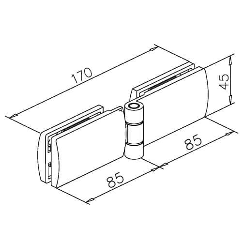 Door Hinge - Glass to Glass - Dimensions