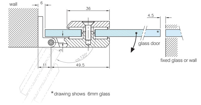 Glass to Wall Door Hinge - Dimensions and Position