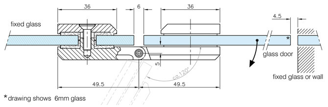 Glass to Glass Square Door Hinge - Dimensions and Position
