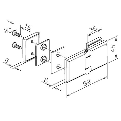 Glass to Glass Fixing Square Hinge - Dimensions