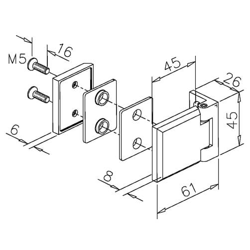 Glass to Wall Fixing Square Hinge - Dimensions