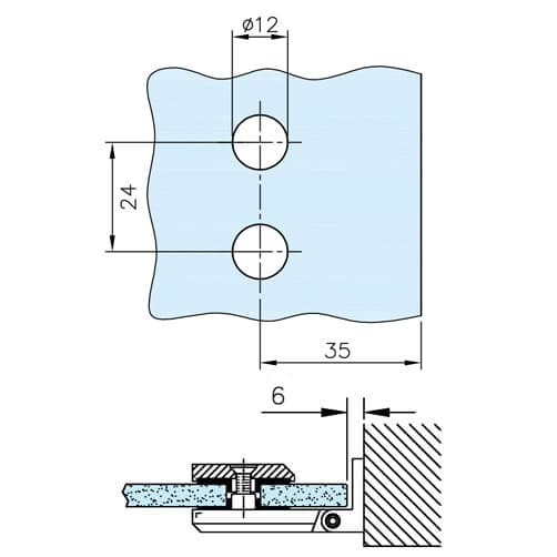 Glass to Wall Fixing Square Hinge - Glass Drilling