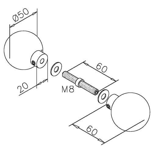 Door Knob - Round Ball - Dimensions