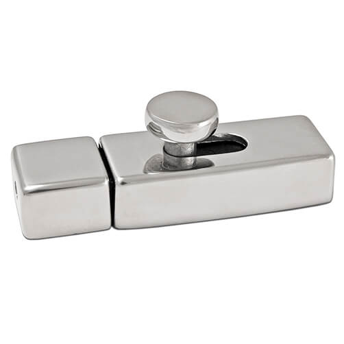 Door Latch with Spring Loaded Catch - Stainless Steel