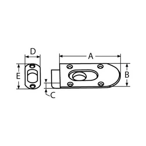 Spring Loaded Slide Latch - Dimensions