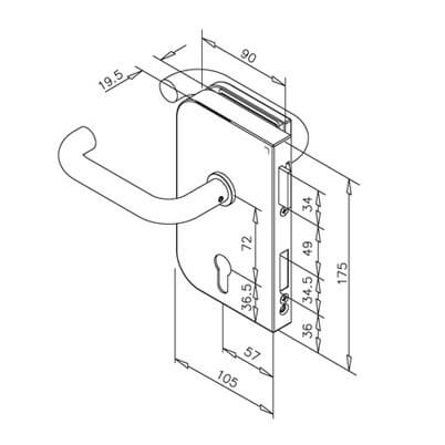 Stainless Steel Door Lock - Lever Handle - Dimensions