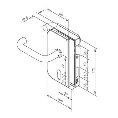 Glass Door Lock - Right Hand Opening - Dimensions