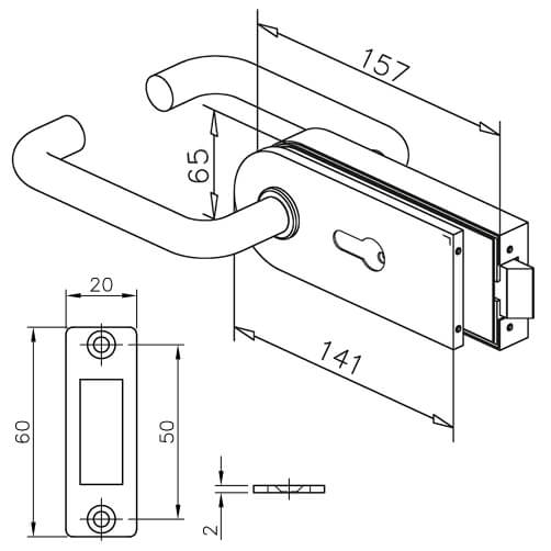 Stainless Steel Door Lock - D-Shaped with Lever Handle - Dimensions